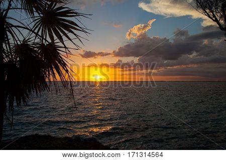 Beautiful sunset over the ocean bay at Playa Giron Cuba