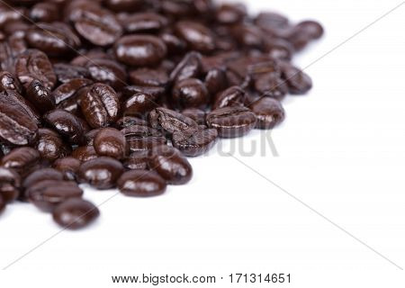 Coffee Beans On White Background Blank For Text
