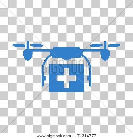 Ambulance Drone icon. Vector illustration style is flat iconic symbol cobalt color transparent background. Designed for web and software interfaces.