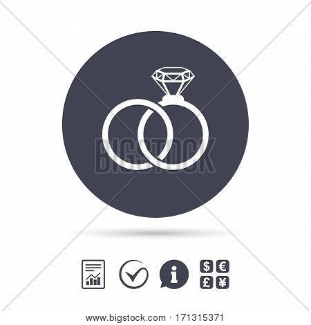 Wedding rings sign icon. Engagement symbol. Report document, information and check tick icons. Currency exchange. Vector
