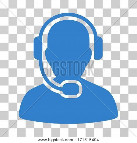 Call Center Operator icon. Vector illustration style is flat iconic symbol cobalt color transparent background. Designed for web and software interfaces.