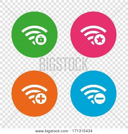 Wifi Wireless Network icons. Wi-fi zone add or remove symbols. Favorite star sign. Password protected Wi-fi. Round buttons on transparent background. Vector