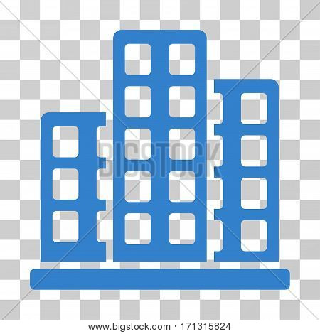 City icon. Vector illustration style is flat iconic symbol cobalt color transparent background. Designed for web and software interfaces.
