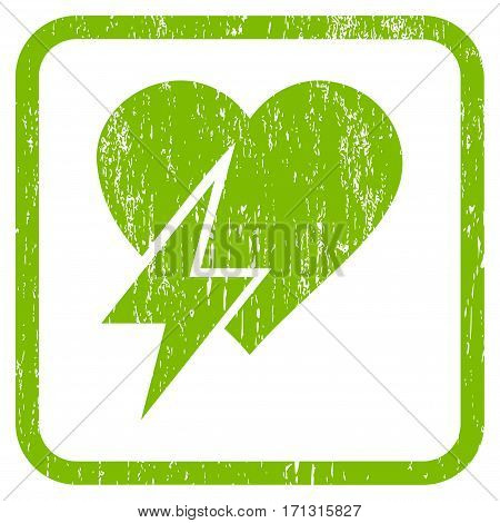 Heart Shock rubber watermark. Vector pictogram symbol inside rounded rectangle with grunge design and dirty texture. Stamp seal illustration. Unclean light green ink sticker on a white background.