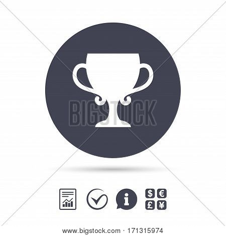Winner cup sign icon. Awarding of winners symbol. Trophy. Report document, information and check tick icons. Currency exchange. Vector