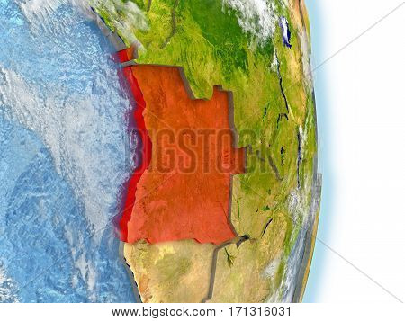 Angola In Red On Earth