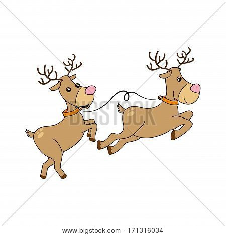 color silhouette with reindeers couple vector illustration