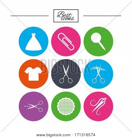 Tailor, sewing and embroidery icons. Scissors, safety pin and needle signs. Shirt and dress symbols. Classic simple flat icons. Vector