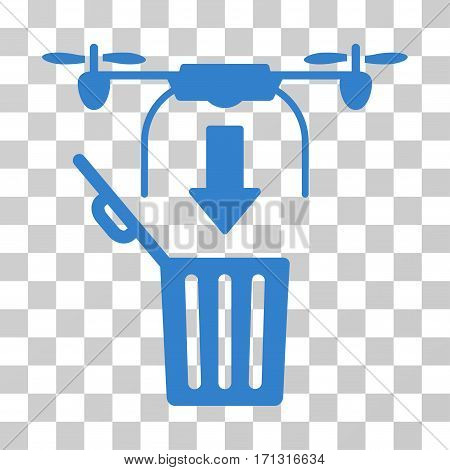 Drone Drop Trash icon. Vector illustration style is flat iconic symbol cobalt color transparent background. Designed for web and software interfaces.