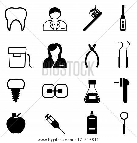 Dental health dentist and dentistry icon set