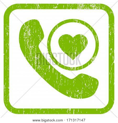 Love Phone Call rubber watermark. Vector icon symbol inside rounded rectangular frame with grunge design and dirty texture. Stamp seal illustration.