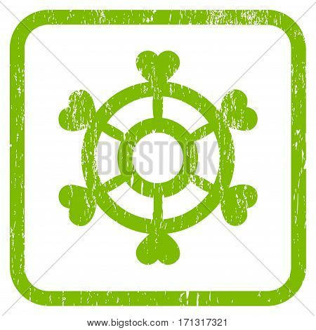 Lovely Boat Steering Wheel rubber watermark. Vector icon symbol inside rounded rectangle with grunge design and dirty texture. Stamp seal illustration.