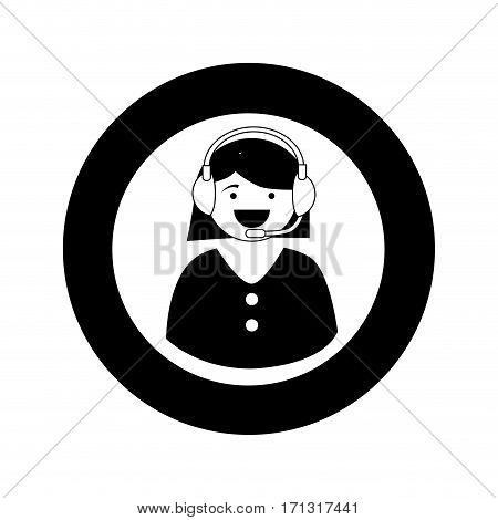 monochrome circular emblem with female customer service vector illustration