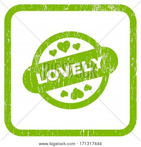Lovely Stamp Seal rubber watermark. Vector icon symbol inside rounded rectangle with grunge design and scratched texture. Stamp seal illustration. Unclean light green ink sign on a white background.
