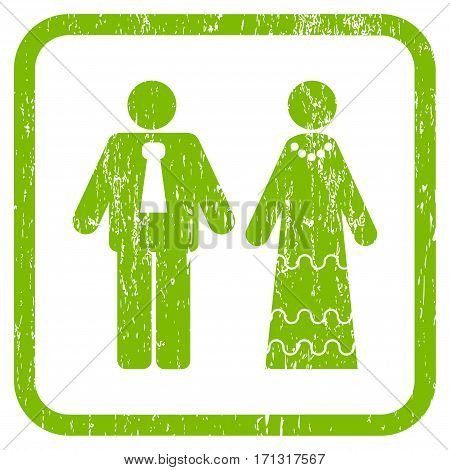 Newlyweds rubber watermark. Vector icon symbol inside rounded rectangle with grunge design and dust texture. Stamp seal illustration. Unclean light green ink sticker on a white background.