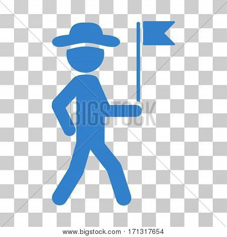 Gentleman Flag Guide icon. Vector illustration style is flat iconic symbol cobalt color transparent background. Designed for web and software interfaces.