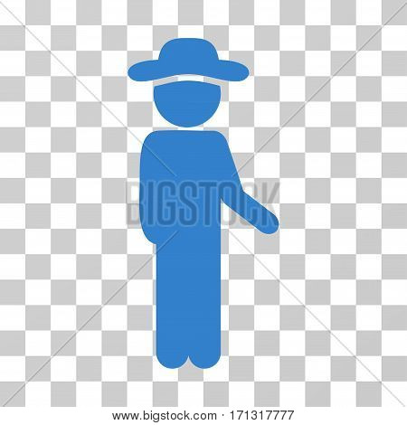 Gentleman Idler icon. Vector illustration style is flat iconic symbol cobalt color transparent background. Designed for web and software interfaces.