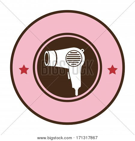 pink circular border hairdryer with stars decorative vector illustration