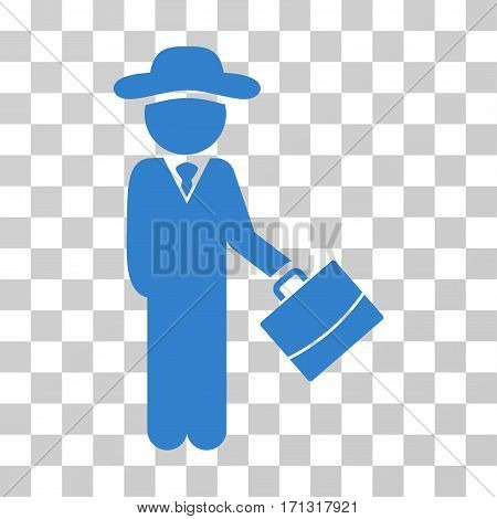 Gentleman Manager icon. Vector illustration style is flat iconic symbol cobalt color transparent background. Designed for web and software interfaces.