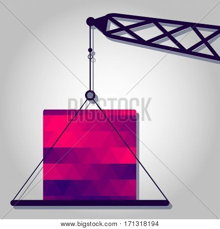 Crane and block with a colored triangles forming a gradient purple to pink.