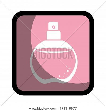 square button with rounded glass bottle spray fragrance vector illustration