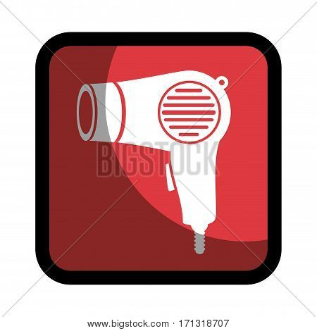 square button hairdryer utensil hairstyle vector illustration