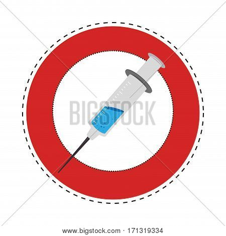 sticker circular border with Needle syringe with liquid and inchs vector illustration