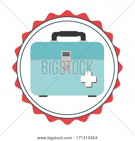 stamp border with colorful briefcase kit first aid vector illustration