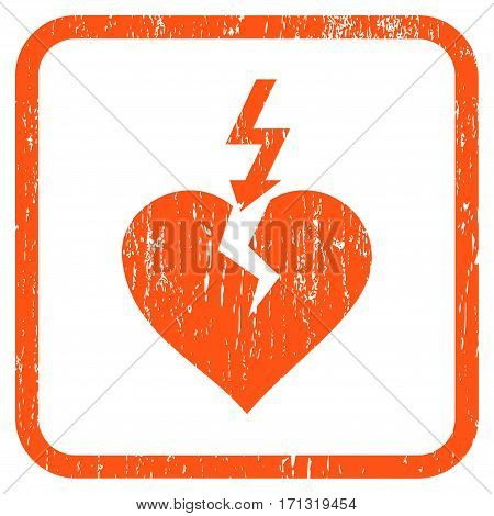 Break Heart rubber watermark. Vector icon symbol inside rounded rectangular frame with grunge design and dirty texture. Stamp seal illustration. Unclean orange ink emblem on a white background.