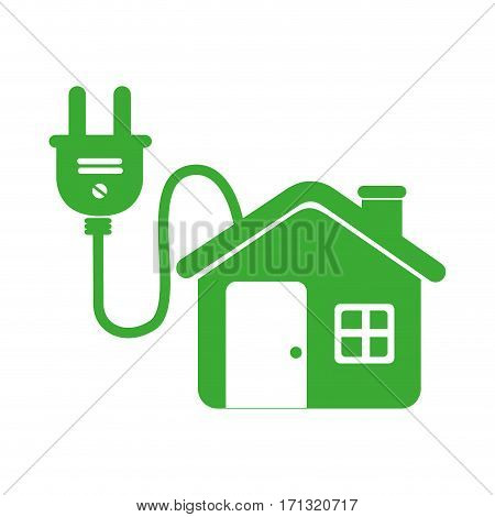 green eco house connected to light bulb vector illustration