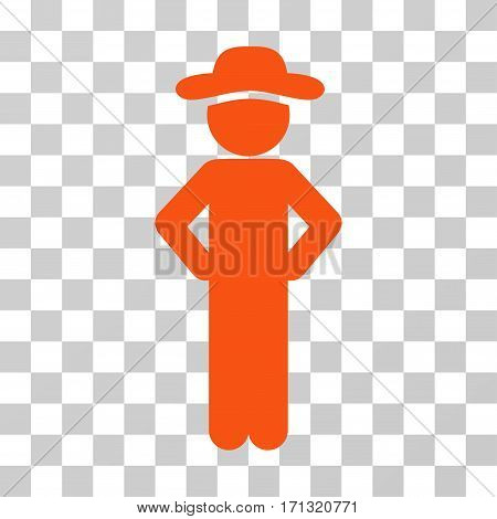 Gentleman Akimbo icon. Vector illustration style is flat iconic symbol orange color transparent background. Designed for web and software interfaces.