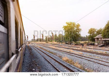 train and Railway track on steel bridge railway junction