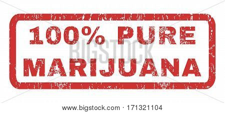 100 Percent Pure Marijuana text rubber seal stamp watermark. Tag inside rectangular banner with grunge design and dirty texture. Horizontal vector red ink sticker on a white background.