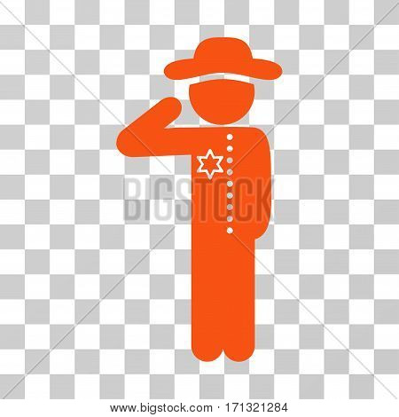 Gentleman Officer icon. Vector illustration style is flat iconic symbol orange color transparent background. Designed for web and software interfaces.