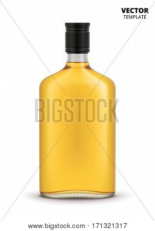 Whiskey bottle glass mockup vector isolated on white background. Cognac bottle for design presentation ads. Whiskey bottle glass template. Design of vector whiskey bottle. Original form bottle for design cognac packaging or bourbon label.