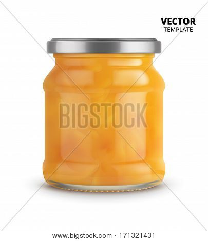 Peach jam jar glass mockup vector isolated on white background. Glass jar mockup for design presentation ads. Peach jam jar glass template for jam label design. Vector apricot jam jar isolated.