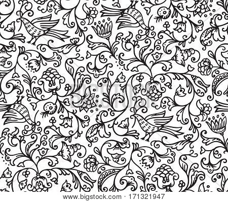Seamless floral pattern background with birds and flowers on white illustration