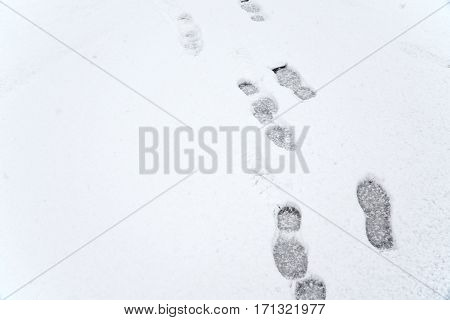 series of footprints extending on snow, vertical composition