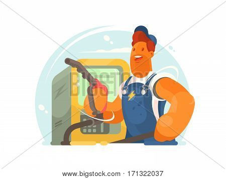 Refueller in working form and cap with hose in hand. Vector illustration