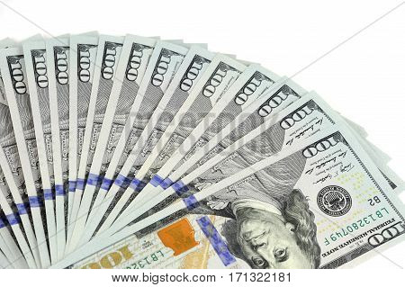 USD hundred dollar bills isolated on white background