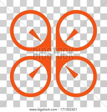 Hover Drone icon. Vector illustration style is flat iconic symbol orange color transparent background. Designed for web and software interfaces.