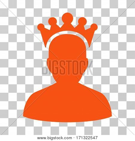 King icon. Vector illustration style is flat iconic symbol orange color transparent background. Designed for web and software interfaces.