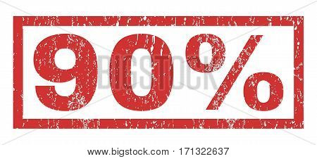90 Percent text rubber seal stamp watermark. Tag inside rectangular banner with grunge design and scratched texture. Horizontal vector red ink emblem on a white background.