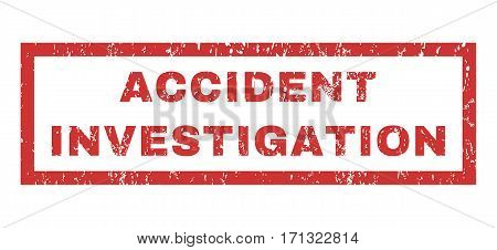 Accident Investigation text rubber seal stamp watermark. Tag inside rectangular banner with grunge design and dust texture. Horizontal vector red ink emblem on a white background.