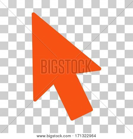 Mouse Cursor icon. Vector illustration style is flat iconic symbol orange color transparent background. Designed for web and software interfaces.