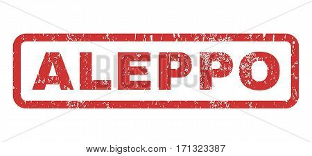 Aleppo text rubber seal stamp watermark. Caption inside rectangular banner with grunge design and scratched texture. Horizontal vector red ink sticker on a white background.