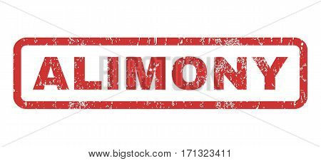 Alimony text rubber seal stamp watermark. Caption inside rectangular shape with grunge design and scratched texture. Horizontal vector red ink emblem on a white background.