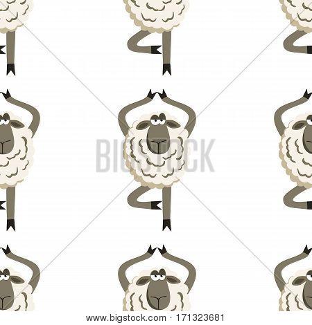 Stubborn Lamb in Yoga Tree Pose. Vector illustration of sheep seamless pattern.