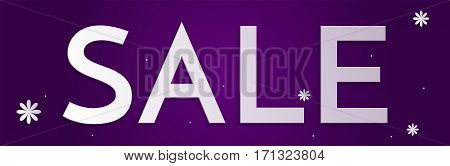 8 March, International Women's Day web banner sale ad. Design template for women's goods on purple background with flower.