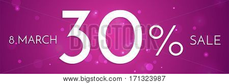 8 March, International Women's Day web banner sale ad with discount. Design template for women's goods on pink background with lights.